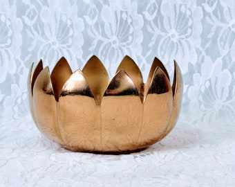 MCM Lacquered Brass LOTUS Bowl ~ Buddhist Altar Offering Bowl ~ Altar Supplies ~ Incense Vase ~ Mid Century Modern ~ Marked with Sticker