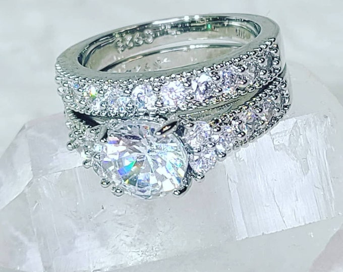 Valentine's Day Silver Wedding Set Rings ~ Faux Diamond ~ White Sapphires ~ Silver Plated Fashion Ring ~ Comes in Gift Box
