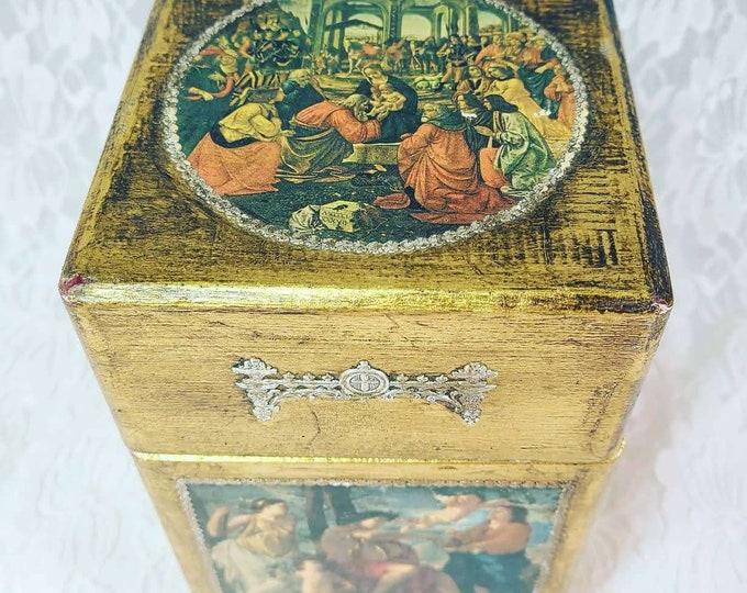 Religious Art Mixed Media Florentine Style Cigar Box ~ Paper Lined ~ Wooden Box ~ Metal Trim ~ Repurposed Cigar Box? AMAZING