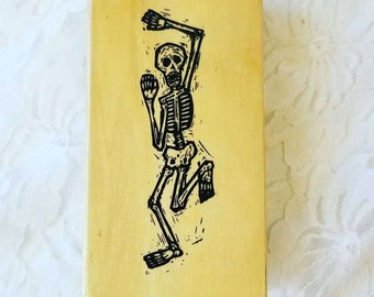 """Large 4.5"""" Dancing Skeleton Spooky Wood Rubber Halloween Stamp ~ Used ~ Scrapbooking Stamps ~ Cardmaking ~ Paper Art ~ Day of the Dead"""