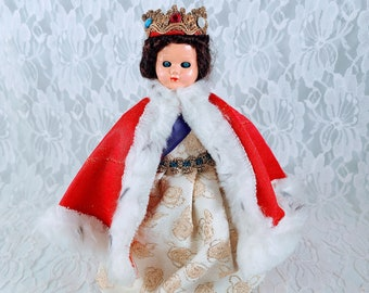 """RARE Vintage Mid Century Queen Elizabeth Doll ~ 1950s made by Almar Dolls in Great Britain ~ 8"""" Tall with Royal Crown and Fancy Gown"""