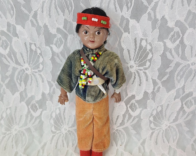 """Native American Indian 1950s Celluloid 8"""" Plastic Doll ~ Original Doll Stand ~ Detailed Clothing ~ Souvenir Doll ~ MADE in JAPAN Sticker"""