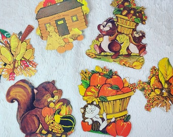 """Vintage Ephemera Lot of 6 Fall Thanksgiving Large Size 5"""" by 5"""" Cardstock Cutouts from the 1970s"""