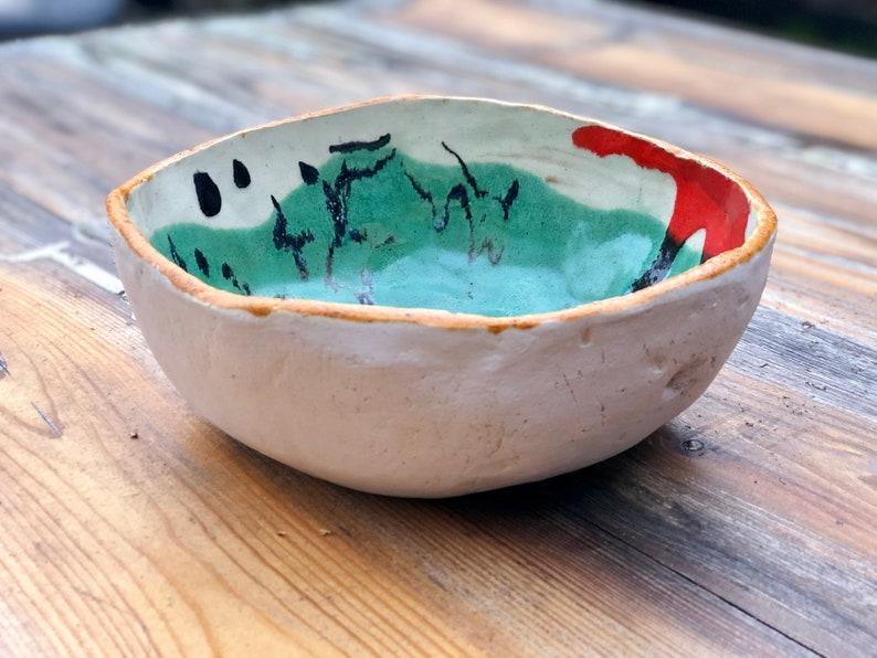 Manually made new modern art ceramic coffee table bowl made by the artist Balbina Bruszewska perfect gift handmade clay pottery
