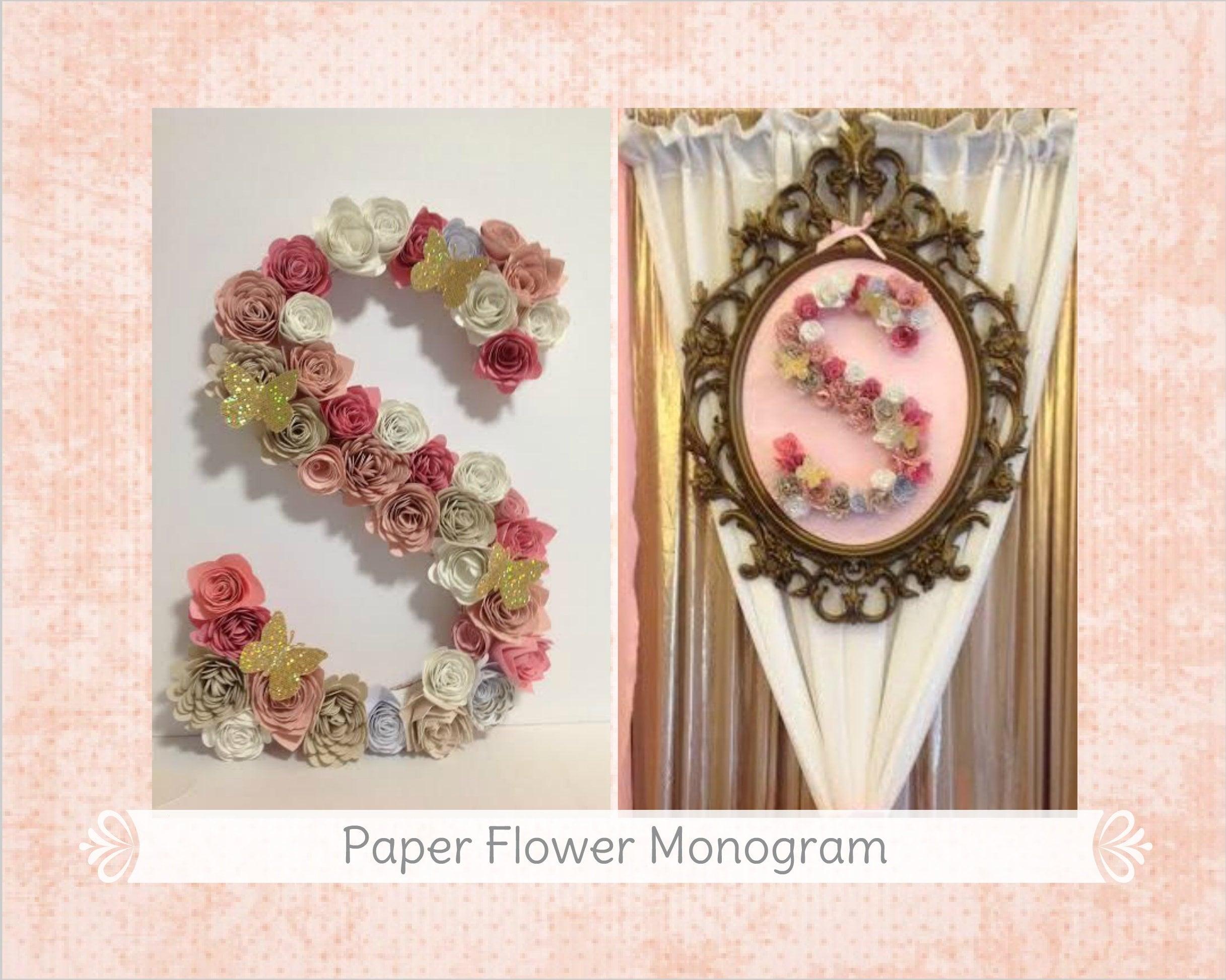 Floral Letter Nursery Decor Floral Wall Monogram Paper Flower