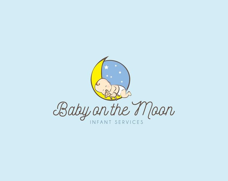 679f0a552df2e Baby on the Moon Logo, Kids Care Logo, Sleeping Logo, Premade Logo, Custom  Logo, Graphic Design, Watercolor, Logo, Sleep Care Logo, Cute