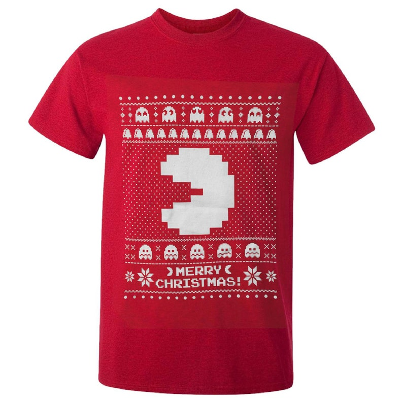 Unisex Merry Christmas Pac-Man Red T-shirt, S to XXL