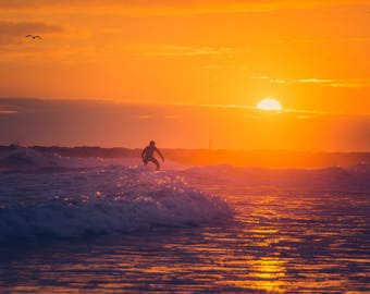 Surfer in the Multi Colored Sunset