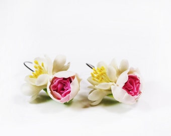earrings with peony and jasmine, women accessories, flower earrings, summer gift for her, wedding earrings, bridal earrings