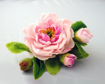 flower hair accessory with peony, hair jewelry, bridal headpiece