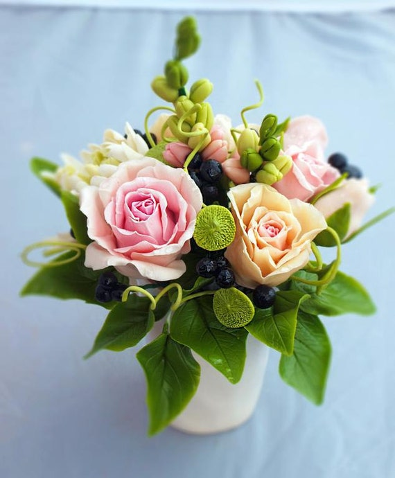 Artificial Roses In Cup Small Flower Arrangements Floral Etsy