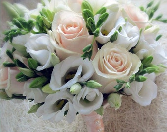 Bridal Bouquet with white freesia, wedding flowers, traditional wedding, bridesmaid bouquet