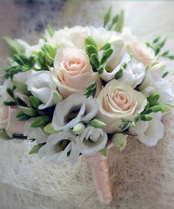 Bridal bouquet with white freesia wedding flowers etsy image 0 mightylinksfo