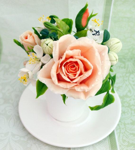 Regalo Casa De Calentamiento Taza Con Arreglo Floral Rosa Rosa Centro De Mesa Decoración Para El Hogar