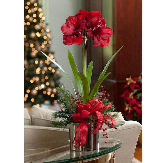 Blumen Tischdekoration Winter Amaryllis Kunstblume Etsy