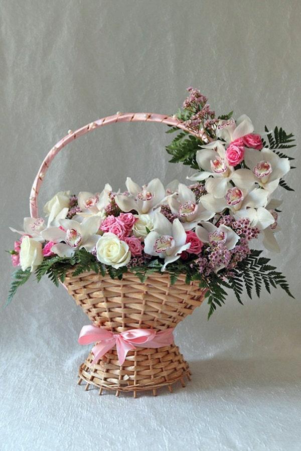orchid and roses flower basket - anniversary gift, home decor, birthday gifts for parents