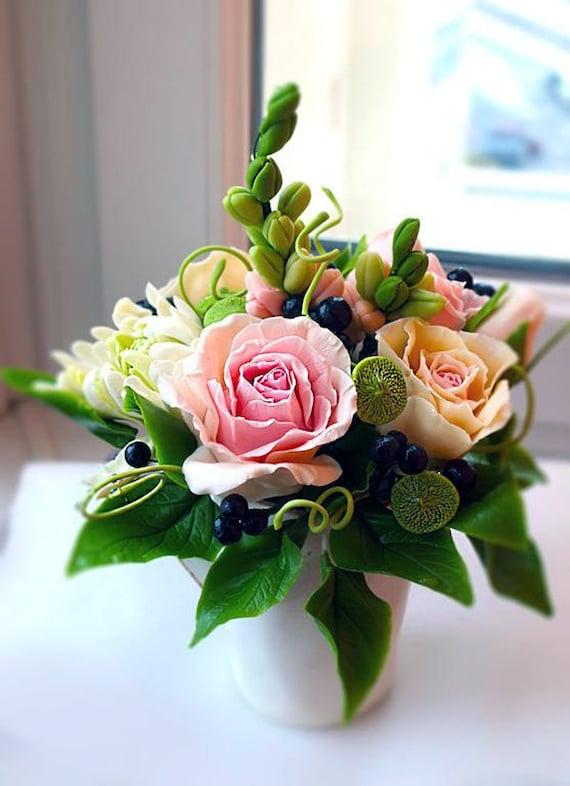 Rosas En Taza Flores Artificiales Flores Del Faux Arreglo De La Flor
