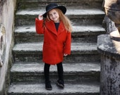 Girls wool Red Autumn coat-Spring jacket girls-Toddler girls wool jacket-Winter outerwear-girls winter outfit-Girls wool coat with collar