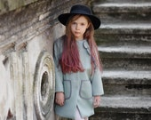 Olive Girls wool Autumn coat-Spring jacket girls-Toddler girls wool jacket-Winter outerwear-girls winter outfit