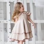 Girls linen dress-girls birthdayr dress-Toddler linen dress-Summer linen dress-Flutter girls dress-Linen circle dress-Girls spring dress