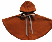 Toddler Wool Cape-Hooded Cape-Girls' Capelet-Brown Cape-Sizes 2T to 9/10-Baby Cape-Wool girls Cape-Girls poncho-