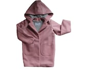 Pink girl Coat-Wool pink Jacket-Wool pink Coat-Hooded coat-Hooded jacket-Baby Girl Coat-Toddler girl hooded wool coat-Spring Pink Girl Coat