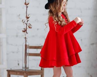 7b992344ba4a4 Red cotton girls dress-Christmas red toddler dress-Long sleeve toddler dress-Cotton  girls dress-Valentines Day Dress-Flutter girls dress