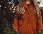 Girls wool Autumn coat-Spring jacket girls-Toddler girls wool jacket-Winter outerwear-girls winter outfit-Girls wool coat with collar
