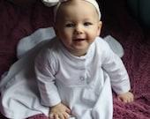 Girls white cotton baby dress- girls summer dress- girls birthday dress- baby girl clothes- long sleeve dress- organic dress for girls