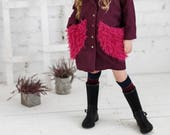 Girls wool Autumn jacket-Purple toddler coat-Toddler pink cardigan-Purple toddler outerwear-girls winter outfit-Girls coat with fur collar