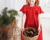Girls red cotton dress- girls summer dress-  girls birthday dress- toddler girl clothes- flutter sleeve dress- vintage dress for girls