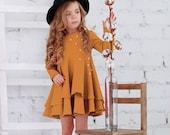 Mustard cotton girls dress-Easter mustard toddler dress-Long sleeve toddler dress-Cotton girls dress-Easter girls gift-Flutter girls dress
