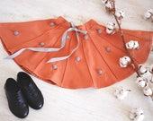 Orange Girls skirts-Baby skirt-Toddler skirt-Polka dot skirt-Pom pom girls skirt-Birthday skirt-Dance baby skirt-Girls Flutter Ballet