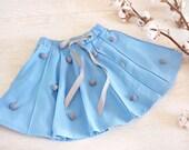 Cotton girls skirts-Baby dance skirt-Toddler skirt-Pom pom skirt-Baby girl skirt-cotton baby skirt-Organic toddler skirt-Blue baby skirt