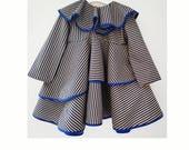 Summer blue girls dress-Summer blue stripe dress-Cotton blue girls dress-Blue dress-Girls spring dress-Flutter girls dress-Collar baby dress