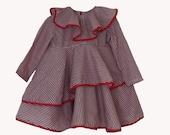 Summer red girls dress-Flower red girls dress-cotton girls dress-Red baby dress-Girls spring dress-Flutter red girls dress- Red stripe dress