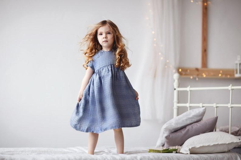 746e387b4d Linen girls dress Blue girl dress-Checkered dress-Girls