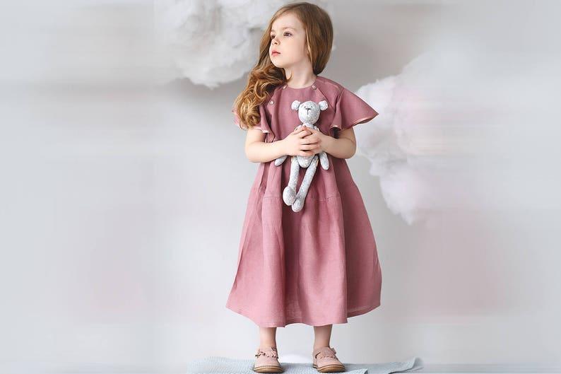 0835f16a17 Toddler flutter sleeve dress-Organic linen dress-Girls summer