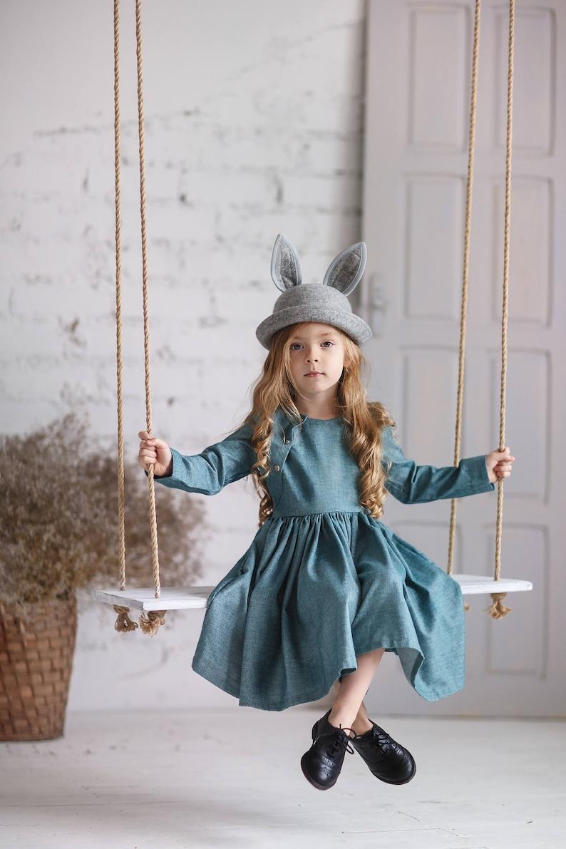 Long sleeve girls dress-Cyan Girls dress-Toddler flutter dress-Aqua collor toddler dress-Easter girls cotton dress-Birthday girls dress 7-8Y