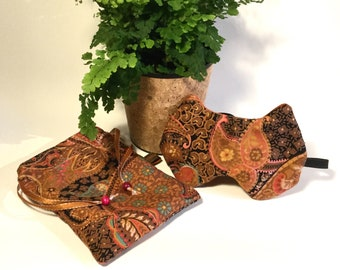 Sleeping mask cat and orange brown ethnic pouch gift for her accessory