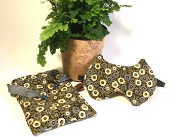 Sleeping mask cat & flowers gift pouch for her accessory