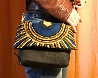 Handbag bimaterial, black leather and wax yellow and blue, gift for her, clutch, bag straps