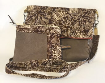 Entire purse and clutch brown leather and wax bimaterial, gift for her