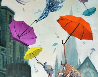 """Large (~15x23"""") Limited Edition Giclee Print of """"Even on a Dreary Day"""" Whimical Octopuses flying with Umbrellas throught the sky"""