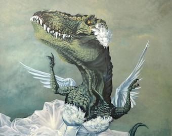 """Large ( ~15x23"""") Limited Edition Archival Giclee Print of """"White Swan"""" - T-Rex Ballerina"""