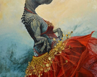 """Small (7x10"""") Limited Edition Archival Giclee Print of """"Belly Dancer"""" a belly dancing dinosaur"""