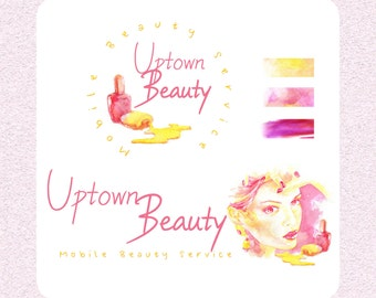 Custom watercolour logo, artistic brand design, pre-made watercolor logo, hand painted beautiful company illustration, business art design