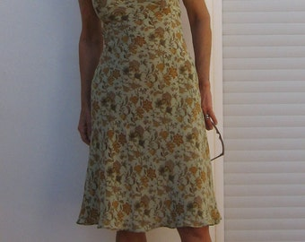 French Slip dress ,Green Silk with Ochre lace