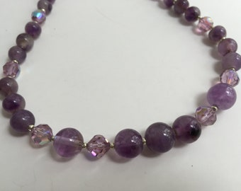 Pretty Amethyst necklace with light purple crystal beads, adjustable 16-19 inches.  G57