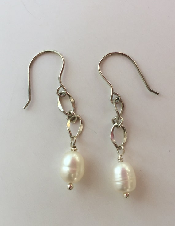 AA 14-15x20-21mm White Drop Coin FreshWater pearl dangle earrings,S925 Sterling Sliver wedding earring,bridal,birthday,graduation,SE3-078